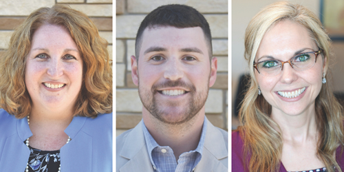 New leaders appointed Thursday included, from left to right, Dr. Lyn Turnell as director of student assessment, Thomas Davis as supervisor of applications support services and Brandy Phillips as assistant principal for Ball Ground ES STEM Academy.