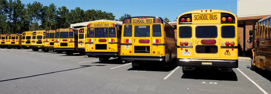 Afternoon buses at ET Booth Middle School
