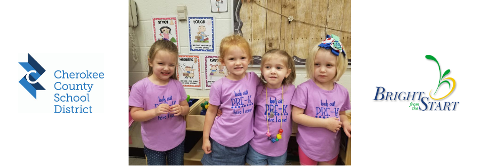 PreK students and program logos