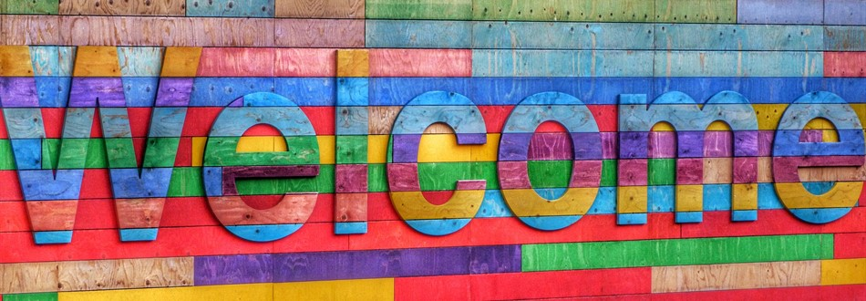 word welcome in rainbow colors