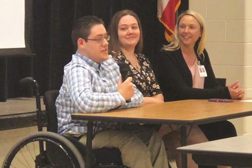 Cherokee HS Class of 2019 graduate Elijah Cook shared his story and advocated for the importance of inclusion during a panel discussion that also included his mother, Brandy, center, and special education teacher Dr. Jennifer Reynolds.