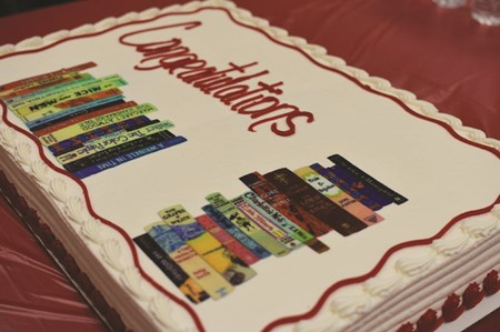 The celebratory cake for CCSD Media Specialist of the Year Anne Nechvatal was decorated with a classic books design by a former Cherokee HS student.